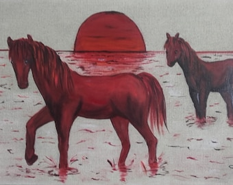 Original acrylic painting on canvas. Red Swamp.