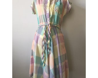 Pastel Plaid Button Front Shirt Dress