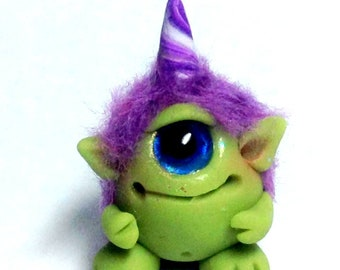"OOAK Friendly Monster Trollfling Troll Mini ""Percival"" by Amber Matthies"