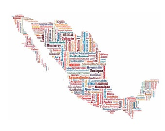 Mexico Map Color Typography Map Poster Print Text Map