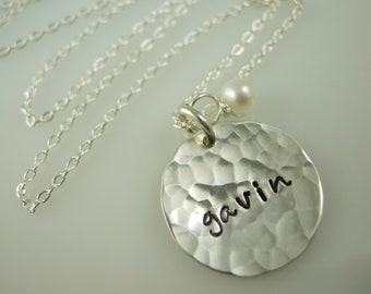 Custom Hand Stamped Jewelry - Hand Stamped Necklace - Engraved Hammered Necklace