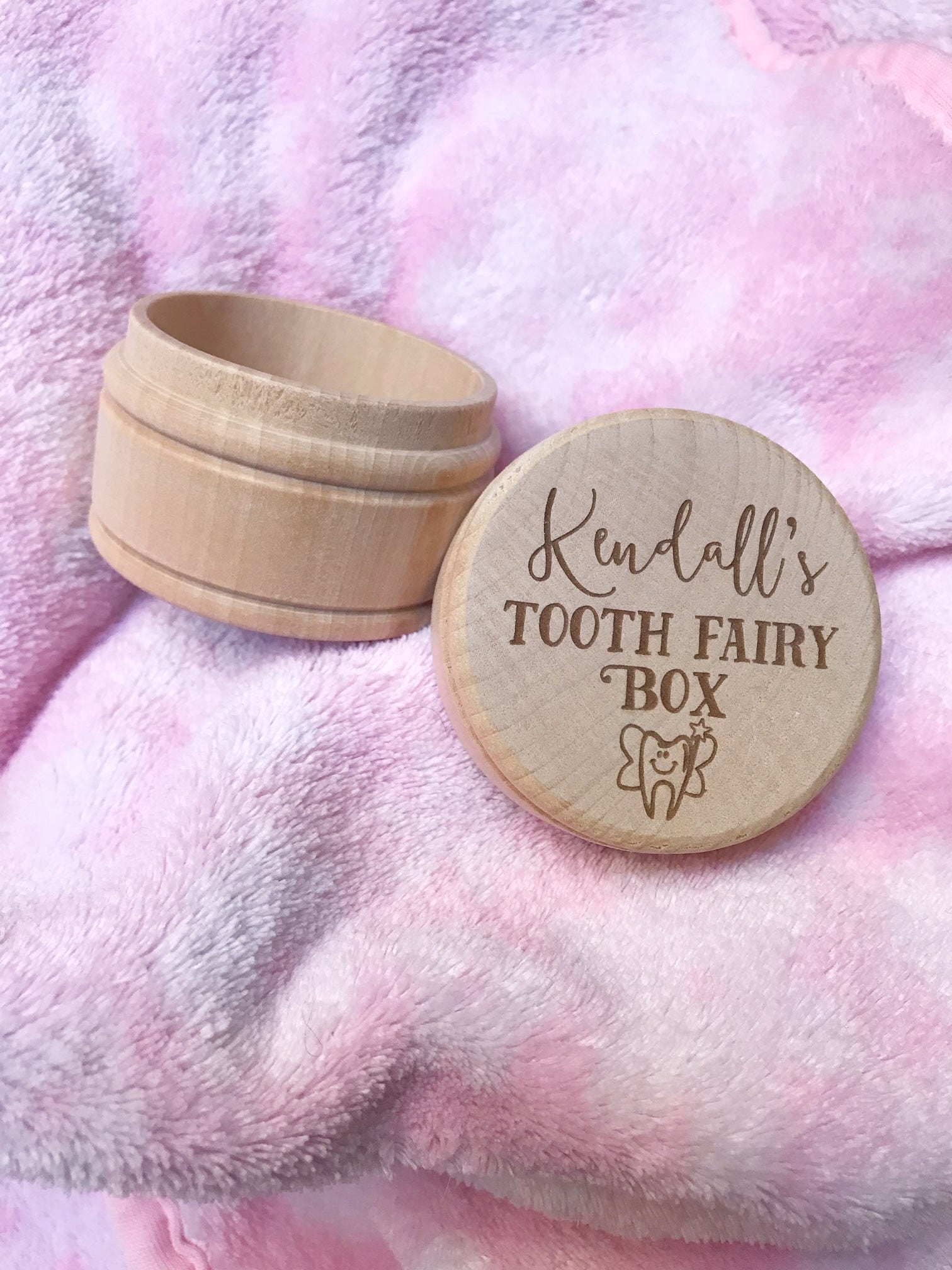 Personalized Wooden Tooth Fairy Box Round Keepsake Box