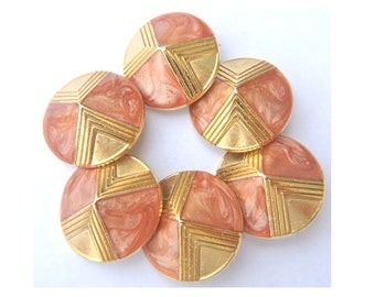 7 Vintage metal buttons, gold color with pink enamel designed buttons, shank buttons, 28mm