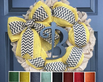 Burlap Wreath with Initial, Monogram Wreath For Front Door, Summer Spring Wreath, Mother's Day, Housewarming Gift