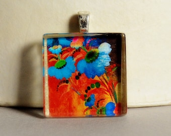 5 Dollar Deal - 5 and Under - Abstract Floral Glass Tile Pendant #2 - Modern Floral Pendant