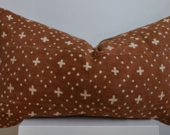 Authentic Vintage African Mud Cloth Rusted Brown/Earth Tones with White Detail Pillow Cover