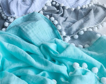 Single Layer Cotton Gauze Swaddle Blanket, PomPom Swaddle Blanket
