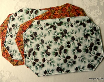 One or More Placemats, Quilted & Reversible, Green and Rust Fall Leaves / Brown Pinecones and Evergreens, Handmade Table Linens