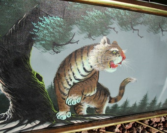 Vintage Japanese Asian Tiger Tree Waterfall Painting Wall Hanging Framed