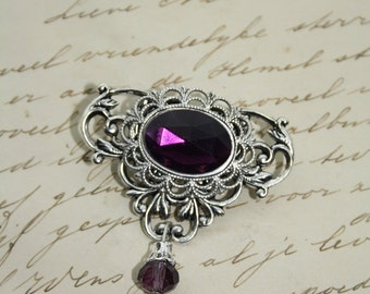 Gothic Victorian Brooch with Purple Stone