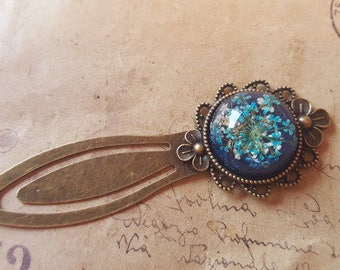 Blue dill flowers bookmarks-bronze-