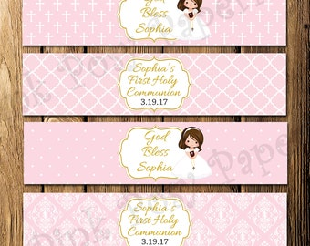 Printable Girls Pink First Communion Water Bottle Wrappers