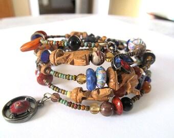 Tribal Memory Wire Bracelet, Elephant Bead Bracelet, Rustic Wrap Bracelet, Moonlilydesigns, Boho chic, Ethnic Jewelry, Bohemian Cuff