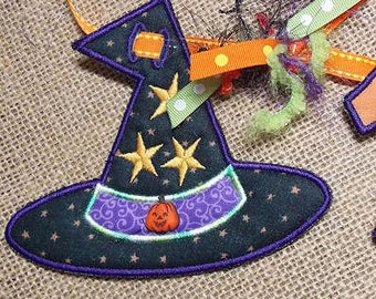 Witch Hat Banner Add On - 3 Sizes, Machine Embroidery