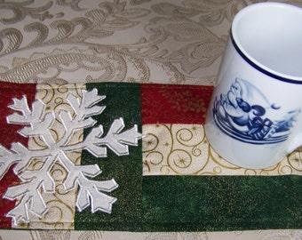 CHRISTMAS - SNOWFLAKE - Applique Quilted Mug Rug PDF E-Pattern