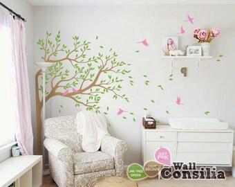 "Tree Wall Decal - Nursery Wall Decoration - ree Wall Sticker - Corner Tree decal vinyl Mural sticker- Large: approx 75"" x 51"" - KC051"