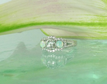 Three Stone Ring, Herkimer Diamond, Opal Ring, Unique Opal Ring, Opal Halo Ring, Halo Engagement Ring, Herkimer Diamond Ring, Custom Ring