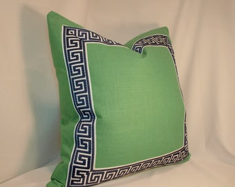ONE Greek Key Emerald Linen with Navy and White Greek Key Trim Pillow Cover with Seam Cording