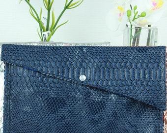 Faux leather Blue clutch
