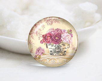 10mm 12mm 14mm 16mm 18mm 20mm 25mm 30mm Handmade Round Photo Glass Cabs Cover-Flower (P2090)