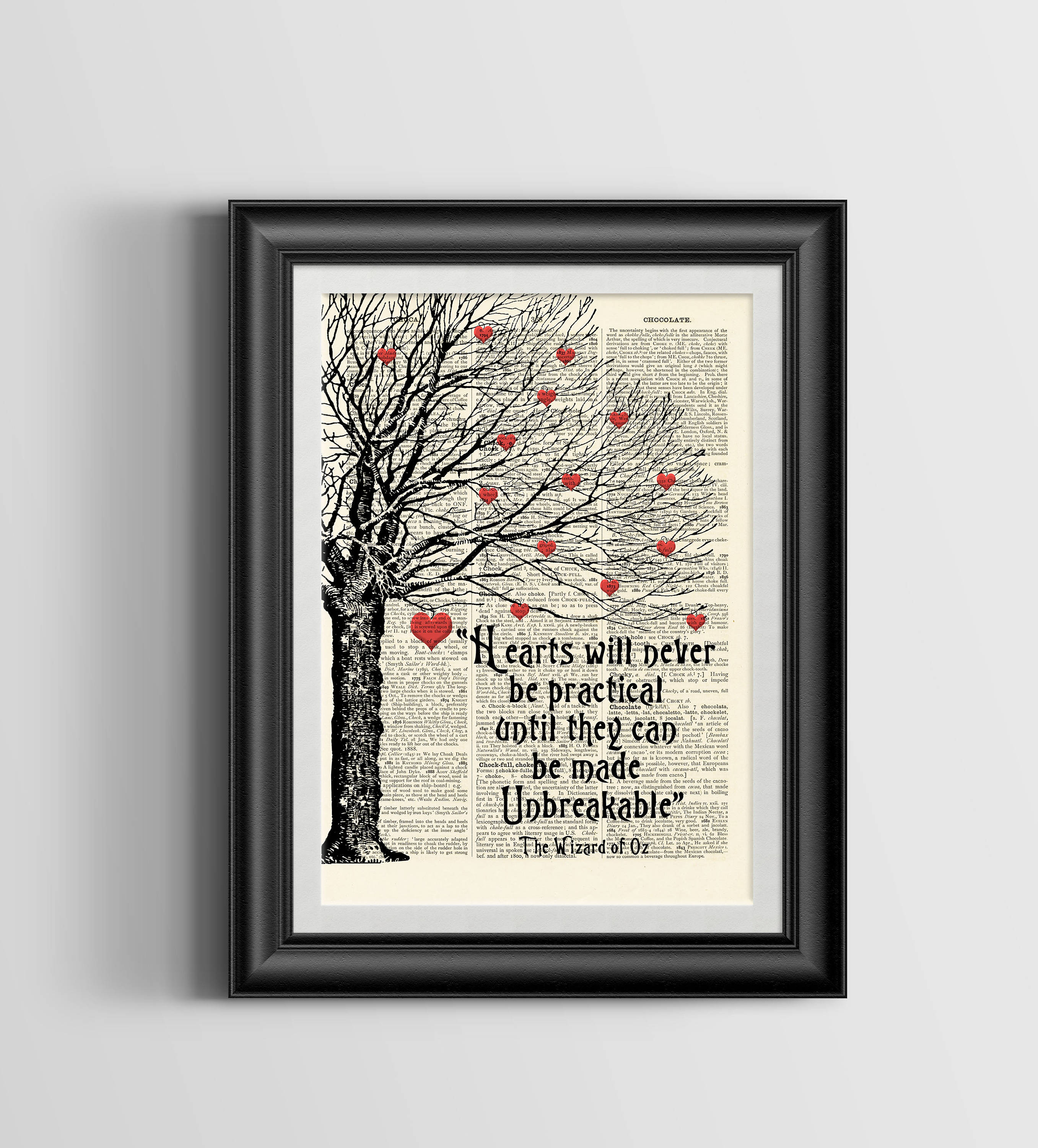 Wizard of Oz Heart Quote vintage book page print image on a