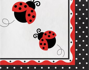 Ladybug Fancy Lunch Napkins [16ct] Birthday Party Baby Shower Dinner Table Supply Tableware Supplies