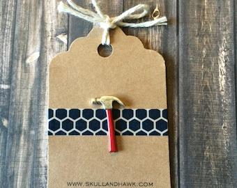 Hammer Lapel Pin / Tie Tack - Silver Tone - Carpenter - Handyman Gift - Small Silver Hammer Pin - Choose Red, Green, Black, Blue Handle