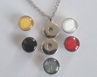 double stand necklace with 5 snaps snaps