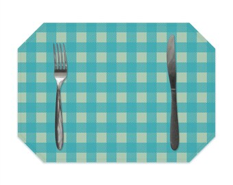 Buffalo check placemat, turquoise and sage green, farmhouse decor