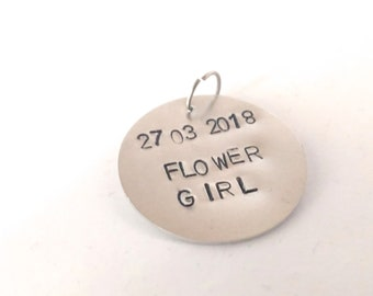 Personalized flower girl tag Dog id tag Dog flower girl tag Name tag Personalized dog tag Flower girl gift Personalized pet wedding jewelry.