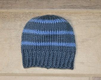 Newborn knit baby hat, blue baby boy hat, handknit beanie, striped hat