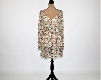 Bell Sleeve Boho Peasant Dress Empire Waist Chiffon Floral Dress Long Sleeve Party Dress Ruffle Romantic Boho Clothing Womens Clothing