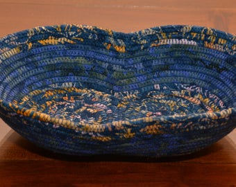 Fabric Rope Coiled Basket Handmade: Navy Blue Yellow - Figure eight (8)