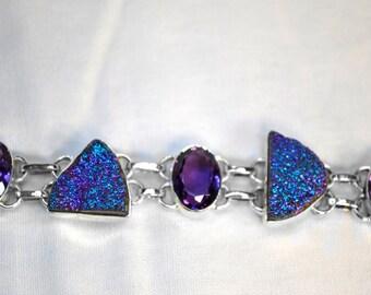 Druzy and amethyst bracelet