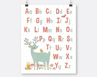 Woodland Friends Alphabet Art Printable Learning Letters Deer Girl Nursery Playroom Art Forest Nursery Instant Download Uppercase Lowercase