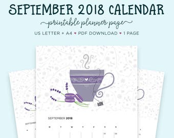 September 2018 Wall Calendar, Tea Lovers, A4 Calendar, Septemeber Printable, Printable Calendar, Gift for Her, Calendar, Month Wall Calendar