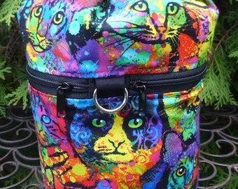Cat knitting bag, knitting in public drawstring bag, knitting project bag, WIP, Painted Cats, Kipster
