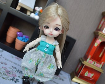 Nelly overalls with turquoise flowers [1/8 = Tiny BJD.