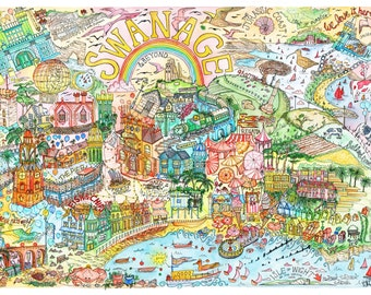 Swanage Map, Purbeck Map, Purbeck Print, Isle of Purbeck, Swanage Map Print, Swanage Print, Swanage Poster, Map Of Swanage, Swanage