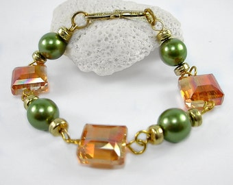 Moss Green & Honey Gold Crystal and Glass Pearl Bracelet, Autumn Colors