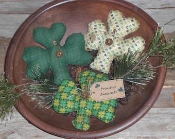 Set of 3 Assorted Primitive Grungy Grubby Green Shamrocks St. Patrick's March 17 Lucky Irish Bowl Fillers Ornaments Ornies Tucks
