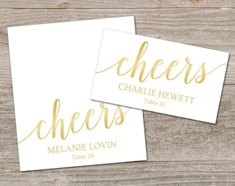 Gold Place Cards Printable Template // Editable Place Cards Gold // Welcome Drink Tags, Cheers Place Card Template