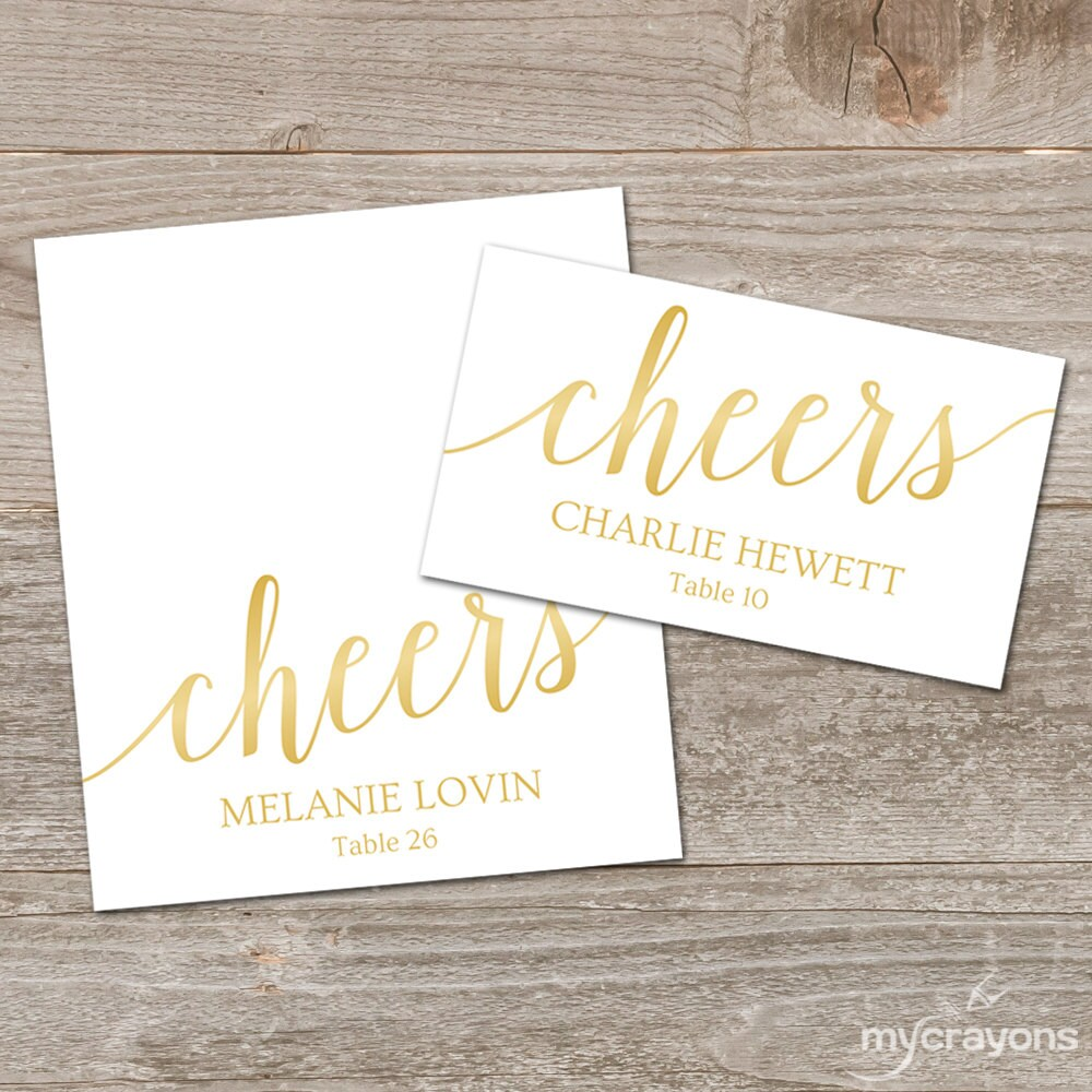Gold Place Cards Printable Template Editable
