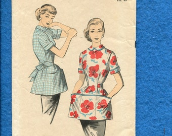 1950's Advance 6464 Mid Century Cobbler Apron or Smock with Side to Side Patch Pocket Size 12 UNCUT