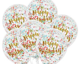 6 CT Gold Birthday Confetti Balloons/ Birthday Confetti Balloons/ Gold Confetti Party Balloons/ Glam Birthday Girl Confetti Balloons