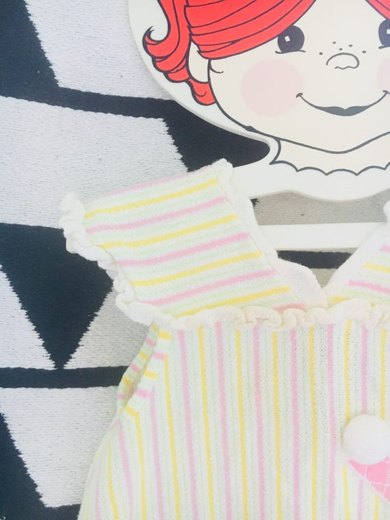 Vintage Carter's 1950s Cotton Baby or Toddler Tank Top - Striped Yellow, Pink + White Size 18 Month Baby/Toddler Sleeveless Top