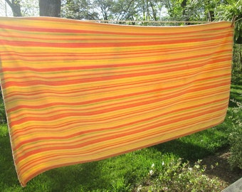 """Vintage Striped Cotton Tablecloth - Yellow Orange Green - Summer Dining - 54"""" by 60"""""""