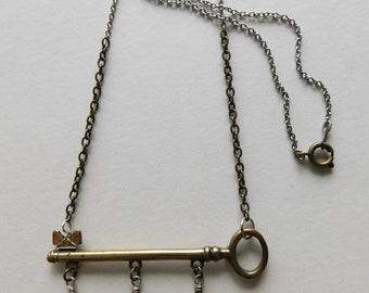 upcycled vintage KEY and WATCH FACE charm necklace ooak recycled materials
