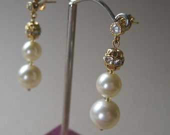 Vintage Inspired Pearl Earrings -  Triple Drop - Gold with Crystal Bead Accents