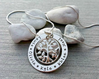 Family tree pendant, sterling silver, hand stamped, personalised, tree of life, family tree necklace, family names, children's names
